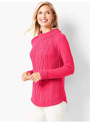 Talbots Cotton Cable Portrait-Collar Sweater