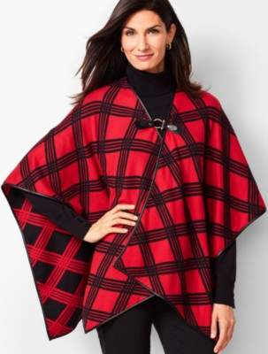 Talbots Leather-Tab Country Plaid Ruana