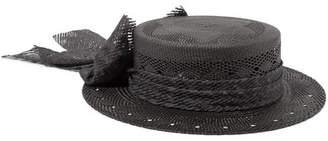Maison Michel Kiki Bow-embellished Straw Hat - Black