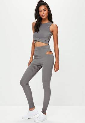 Missguided Active Gray Cut Out Leggings