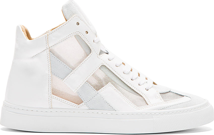 Maison Martin Margiela White Cut-Out Iris High-Top Sneakers