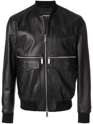 DSQUARED2 pocket leather jacket