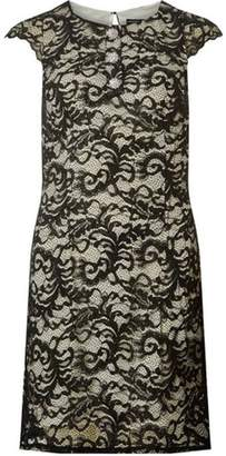 Dorothy Perkins Womens Black and Ivory Embellished Button Lace Shift Dress