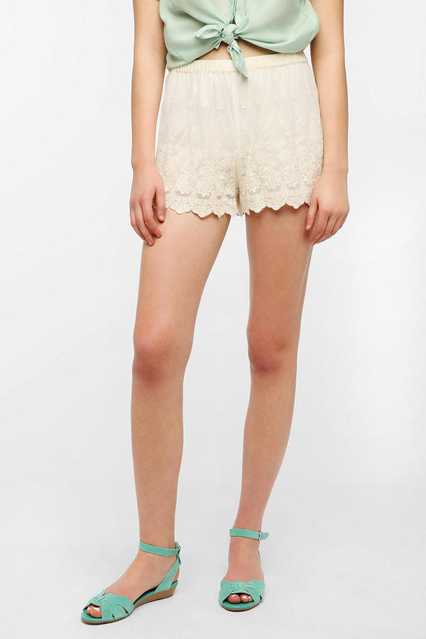 Urban Outfitters Pins And Needles Lace Trim Mesh Short