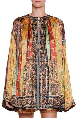 Etro Argan Printed Caftan Top, Brown $3,005 thestylecure.com