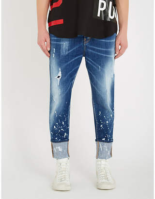DSQUARED2 Ripped faded slim-fit straight jeans