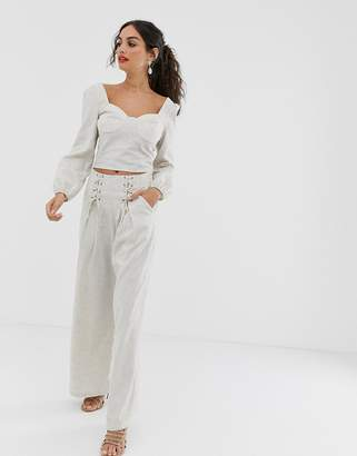 Outrageous Fortune drawstring side wide pant in sand