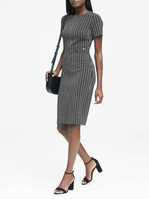 Banana Republic Petite Side-Button Bi-Stretch Sheath Dress