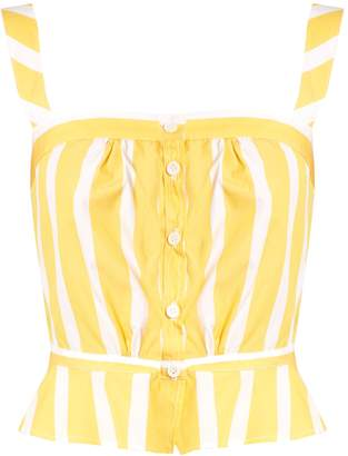 Rossa striped peplum cotton-poplin cami top