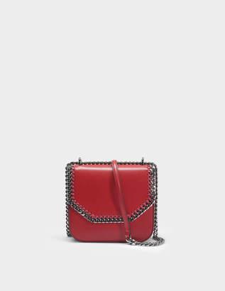 Stella McCartney Eco Alter Nappa Medium Falabella Box Shoulder Bag in Ruby and Black Eco Leather