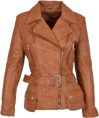 House of Leather Ladies Real Leather Hip Length Belted Biker Style Casual Jacket Celia