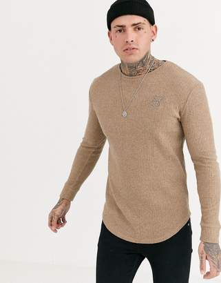 SikSilk muscle fit knitted crew neck sweater in camel