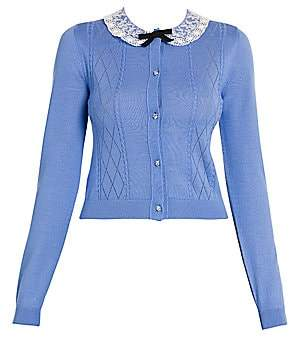 Miu Miu Women's Lace-Collar Pointelle-Knit Cashmere Cardigan