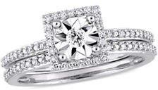 HBC CONCERTO 10K White Gold and 0.25 TCW Diamond Halo Bridal Ring