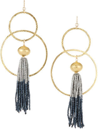 Devon Leigh Tassel Hoop Drop Earrings
