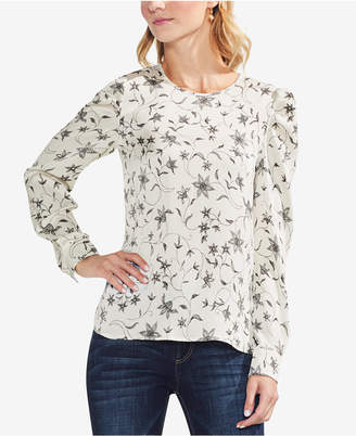 Vince Camuto Printed Puffed-Sleeve Blouse
