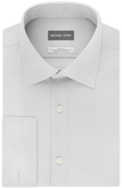 Michael Kors Men's Slim-Fit Airsoft Stretch Moisture-Wicking Non-Iron French-Cuff Dress Shirt