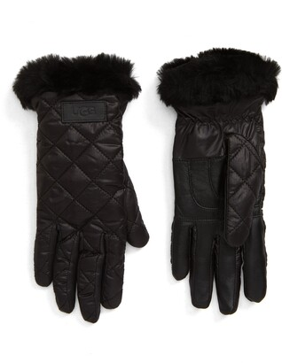 UGG All Weather Touchscreen Compatible Quilted Gloves with Genuine Shearilng Trim