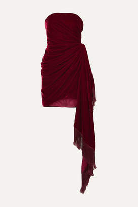 Oscar de la Renta Strapless Fringed Draped Velvet Mini Dress - Burgundy