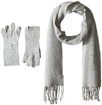 Calvin Klein Women's 2 PC Varsity Scarf, Knit Touch Glove