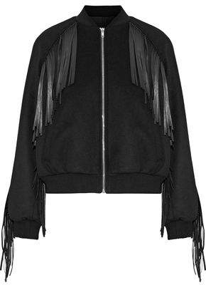 Maje Brume Fringed Faux Leather-Trimmed Wool-Blend Bomber Jacket