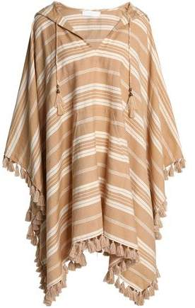 Tasseled Striped Linen And Cotton-Blend Hooded Kaftan