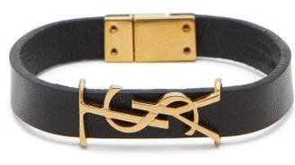 Saint Laurent Monogram Plaque Leather Bracelet - Mens - Black