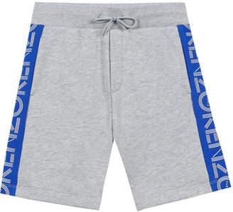 Kenzo Logo-Sides Mixed Material Fleece Bermuda Shorts, Size 8-12