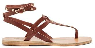 Ancient Greek Sandals Estia Nails Embellished Leather Sandals - Womens - Dark Brown