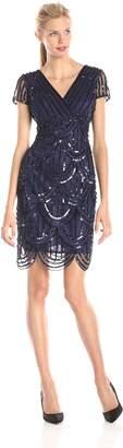 Marina Women's Short Sleeve V Neck Stripe Sequin Dress