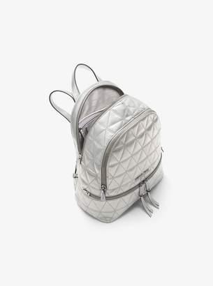 MICHAEL Michael Kors Rhea Medium Metallic Quilted-Leather Backpack