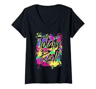 Womens Totally Rad 80s Paint Splash 90s Color Run 1980s Party V-Neck T-Shirt