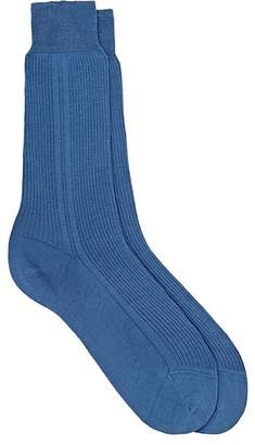 Barneys New York MEN'S FINE-GAUGE RIB-KNIT MID-CALF SOCKS