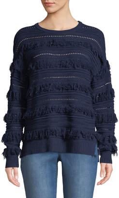 MICHAEL Michael Kors Long-Sleeve Novelty Fringe Sweater