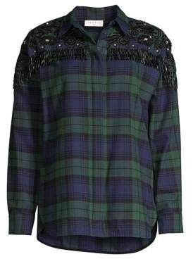 Sandro Women's Cocotier Beaded Fringe Plaid Shirt - Deep Navy - Size 3 (Large)