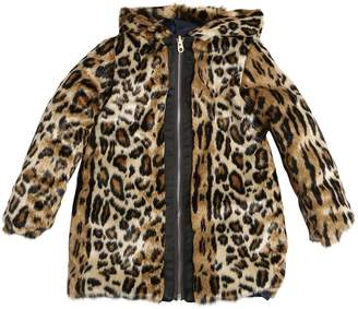 Little Marc Jacobs Reversible Faux Fur & Nylon Coat
