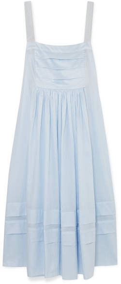 Three Graces London – Linton Pleated Cotton-voile Dress – Light blue