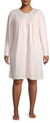 Miss Elaine Plus Embroidered Short Nightgown