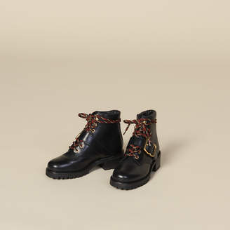 Sandro Smooth Leather Ranger Boots