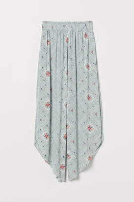 H&M Wide-leg Pants with Slits - Turquoise