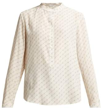 Stella McCartney Logo Print Silk Shirt - Womens - Ivory Multi