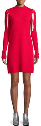 Mo&Co. EDITION10 Lace-Up Shoulder Sweater Dress