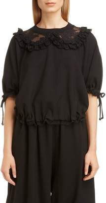 Simone Rocha Frilly Lace Ruched Top
