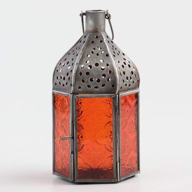 Small Orange Embossed Glass Tabletop Lantern