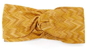 Missoni Knotted Zigzag Knitted Headband - Womens - Gold