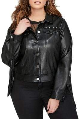 Addition Elle Love And Legend Plus Faux Leather Fringe Crop Jacket