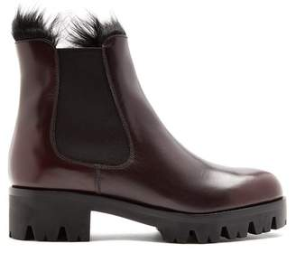 Prada - Fur Lined Leather Ankle Boots - Womens - Burgundy