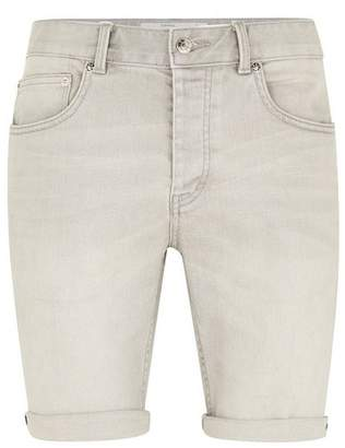 Topman Mens Grey Cloud Gray Stretch Skinny Shorts