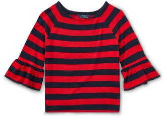 Ralph Lauren Striped Ruffle-Sleeve Top