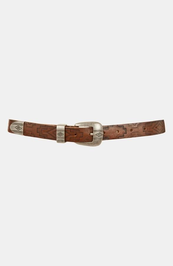 Topshop 'Aztec' Embossed Leather Belt